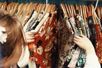 Woman looking at clothes