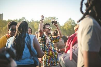 Man having fun at festival